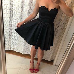 Keepsake Black Strapless Fit & Flare Satin Dress